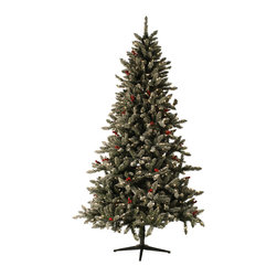 None - 7.5-foot Pre-lit Berry Flocked Tree - This pre-lit tree has a very contemporary look with full profile,flocked tipss and large artificial red berries. Light strands are already placed within the branches and plug in with a cord. Hinged branches make for easy setup.
