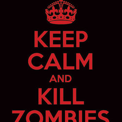 """Keep Calm Collection - Keep Calm and Kill Zombies, premium art print (black and red) - High-quality art print on heavyweight natural white matte fine art paper. Produced using archival quality inks giving the print a vivid and sharp appearance. Custom trimmed with 1"""" border for framing."""