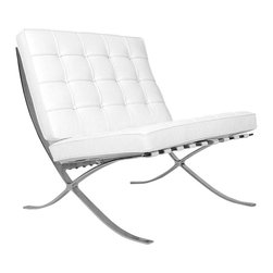 "Barcelona Chair Inspired Reproduction, White - The Exposition Chair is a modern classic, which combines high-concept Mid-Century Modern interior design aesthetics with the comfort and luxury of your favorite lounge chair. The famous maxim, ""less is more"", is clearly visible in the strong, no-frills design of the Exposition Chair, which features a sturdy base of welded stainless steel. The Exposition Chair comes upholstered in fine 100% Italian leather, and is available in either black or white."
