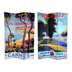 Oriental Furniture - 6 ft. Tall Double Sided Cannes/Versailles Room Divider - This magnificent room divider features of two of France's most breathtaking cities, Cannes Versailles, from our series of early 20th century art deco/art nouveau travel posters. The front is a majestic rendering of a long, broad avenue in the city of Versailles, the unofficial capital of the   Ancien Regime , and the palace where WWI came to an end. On the back is a lovely hilltop view of Cannes, the  Cote d' Azure  city known throughout the world for it's international film festival. These stunning reproductions will bring chic interior design elements to your living room, bedroom, dining room, or kitchen. This three panel screen has different images on each side, as shown.