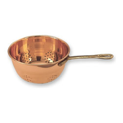 "10½"" x 6"" Décor Copper Hanging Colander w/Brass Handle (Unlined) - Rinse & serve your food in classic style with this Décor copper hanging colander. Constructed of stainless steel and finished with a beautiful copper plating and accented with a Solid Brass Handle"