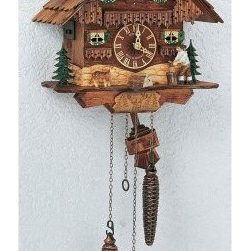 Schneider Quartz Black Forest 10 Inch Cuckoo Clock - The Quartz Black Forest Cuckoo Clock with Animated Wood Chopper by Schneider is an heirloom wall clock that will enhance any home. Hand-carved in the magnificent Black Forest tradition of Germany this distinctive timepiece depicts a quaint forest cottage complete with dog woodpile and wood chopper. The wood chopper moves on the hour. Each wooden shingle is individually hand-laid. The time is displayed by easy-to-read hands and dial. Precision timing mechanics keep the happy cuckoo bird on schedule and the quartz operation can play your choice of 12 melodies. The nighttime silence feature is conveniently located on the side or bottom of the housing. The assembly measures 10 inches.In 1848 Anton Schneider began the design and production of hand-crafted cuckoo clocks. Since then six generations of Schneiders have carried on the family tradition of fine clock making. From its factories located in the heart of Germany's Black Forest highly skilled artisans hand-carve paint and assemble heirloom-quality clocks by exacting standards. Hand-crafting and precise attention to detail are what make the Anton Schneider company industry leaders worldwide.