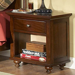 Homelegance - Homelegance Aris 24 Inch Nightstand in Brown Cherry - Classic in design and bold in style  the youth version of our popular Aris Collection adds warmth and character to your child's bedroom. Bun feet serve to support the simple yet elegantly designed case pieces  while the warm brown cherry finish on select hardwoods and veneers completes the overall look. Student desk with hutch and coordinating chair are also available.