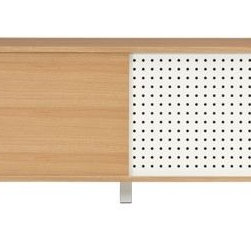grid media console - spot on. Mixed media combo slides/hides electronics via track doors in white oak veneer and hi-gloss white powdercoated steel with dot-to-dot perforation/ventilation. Slim vertical aluminum handles slide panels centerbound to access one adjustable shelf each side. Back is completely finished to float in the room with discreet full-width channel for neat cord management. White powdercoated steel square legs recess fresh. Learn more about the designer from Mash Studios on our blog.- Designed by Mash Design Studio- Low-emission engineered wood with white oak veneer case and door- White hi-gloss powdercoated steel legs and door with perforated grid- Aluminum handles- Two adjustable shelves- Finished back with cord management channel- Use of coasters is recommended- Clean with dry soft cloth- Use of anti-tip hardware recommended, included- Made in China