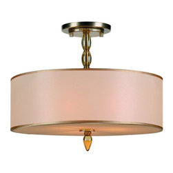Crystorama Lighting Group - Crystorama Lighting Group 9505 Luxo 3 Light Semi-Flush Ceiling Fixture with Silk - The Luxo Collection by Crystorama captures the essence of grace and style. There are two choices of color and presentation. For the Antique Brass metal finish, the combination of the Light Gold Silk Shimmer shade and the Amber column accents allows this collection to work in any transitional setting. For the Satin Nickel, the combination of the Silver Silk Shimmer shade and the smokey column accents allow this collection to work in any transitional setting. The attention is in the details with this collection from the bottom diffuser made of silk to the decorative canopy.Features: