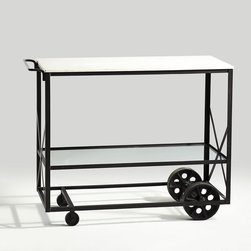 KITCHEN TROLLEY - NEW - Obtain the ultimate kitchen experience with this mobile kitchen trolley. Made of iron, metal, and glass, this piece can handle the absoluteness of your cooking needs. With two shelves, a towel bar, and rolling casters—extra counter space, storage, and serving is readily available. You'll find this trolley a sine qua non fixture for your kitchen.