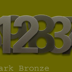 "bFuller 6"" Numbers Dark Bronze by houseArt - The rich Dark Bronze finish on our bFuller 6 inch stainless steel numbers. 3/8"" stand-offs for a dimensional look. Original houseArt design."