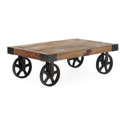 Zuo Modern - Cart Table in Distressed Natural Finish - Antiqued metal wheels. Warranty: One year. Made from fir wood. Assembly required. 43.3 in. W x 28 in. D x 13.8 in. H (96.1 lbs.)