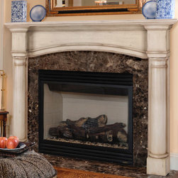 """Princeton Fireplace Mantel - The classic columns of the Princeton Fireplace Mantel will frame your fireplace and create a distinguished look in any room. A deep, 8-1/4"""" shelf allows plenty of room to display framed photos and curios."""