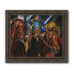 """Peace Sign 13x16 Print - """"Peace Sign"""" is a canvas giclee portraying a horse race by Sharon Crute. We present this to you in a rustic wood finish with gold studded and scrolled edged frame. This makes an overall framed size of 13x16."""