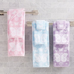 Butterfly Jacquard Bath Towel Collection - Give the bath springtime style with beautiful butterflies.