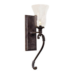 Uttermost - Galeana Wall Sconce - Artisan touches like mouth-blown glass and clay patina finishes bring an old world delicacy to this modern wall sconce. The iron structure will give a sense of strength while the curves of the glass provides a counterbalance of softness. It's a match made in heaven, all for your wall.