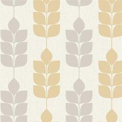 York Wallcovering - Silver & Yellow Modern Petals Wallpaper - Modern Silver and Yellow Petals, Pattern # ND7032