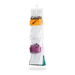 Honey Can Do - Hanging Handbag Storage- PEVA - Breathable material and protective PEVA. Prevents odor and keeps dust and dirt away. Convenient viewing. Clear vinyl front enables simple viewing for quick content location. Easy set up and storage. Hangs from a standard closet rod and stores up to 8 handbags. 24 in. L x 3 in. W x 48 in. H (0.6 lbs.)Honey-Can-Do SFT-01422 Hanging Handbag File, White/Clear. Finally a hanging storage solution for your handbag collection! Protective vinyl windows let you easily find the perfect bag for your outfit, plus keep your prized possessions dust-free while in storage. Easily hangs from any standard closet rod, this double-sided handbag file holds up to eight purses. Save space and your investment with this ingenious organizer.