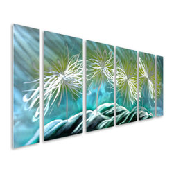 Pure Art - Dazed Dandelions Abstract Aluminum Wall Art Hanging Set of 6 - Get ready to be dazed by style and wowed by color when hanging this fun metal wall art hanging! The Dazed Dandelions Abstract Aluminum Wall Art Hanging Set of 6 features four individual flowers in abstract style that are set upon a backdrop of swirling blues and purple.  Ideal large sized metal wall hanging to hang on larger walls where smaller works of art might look lost. Hand this gorgeously styled metal wall art sculpture set wherever you want to turn heads and create a huge visual impact.  Metal wall art panel set is handcrafted and handpainted for a head turning look that you will loveMade with top grade aluminum material and handcrafted with the use of special colors, it is a very appealing piece that sticks out with its genuine glow. Easy to hang and clean.