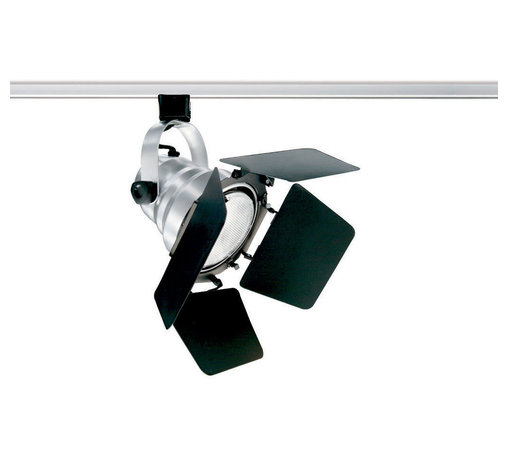 Juno Lighting - T292 Studio II PAR30 Trac Master Line Voltage Lamp Holder - T292 Studio II PAR30 Trac Master Line Voltage Lamp Holder with its theatrical styling is available in Silver or Black finish with Black barn doors and accessory clips. 90 degree vertical aiming capability and 358 degree horizontal rotation with one locking knob provided. Medium base porcelain socket. One 35-75 watt 120 volt PAR30 halogen lamp not included. For use with Trac Master 1-circuit and 2-circuit track. Features pull up contact to up position for two circuit application. UL listed.