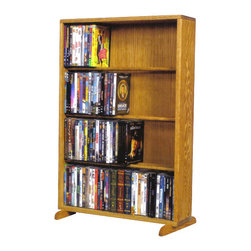 CD Racks - Solid Oak 4 Row Dowel DVD Cabinet Tower - Handcrafted by the Wood Shed from durable solid oak hardwood