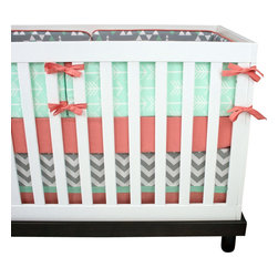 "Modified Tot - Baby Bedding Crib Set, Minty - Our exclusive arrow crib set features mint arrows and triangles accented with the perfect shade of salmon for either boy or girl. The three piece set includes bumpers with hand-stitched fabric ties and contrasting piping, a fitted sheet with elastic all the way around and a four-sided skirt with a 15"" drop. Bumpers are created in six separate pieces for easy transition to a toddler bed, they measure 1"" thick and 10"" high. All items are proudly made in the USA. All products are made to order."