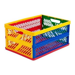 Ecr4kids - Kids Plastic Large Vented Collapsible Crate Storage W/Open Closed Primary Colors - The ECR4Kids large vented collapsible crate keeps supplies organized and features built-in handles for easy transporting. Made of colorful plastic, the crates lock when open and fold flat to save space when not in use. Crates stack in both the open and closed positions. Nests with other large crates or with two small crates to save space.