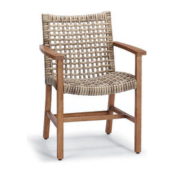 "Frontgate - Isola Dining Arm Chair, Patio Furniture - With a breathable open weave and solid teak frames, our Isola Dining Collection is the perfect fit for arid and coastal climates alike. Generously proportioned dining chairs features a solid premium teak frame wrapped in 3/4""-wide bands of driftwood-hued, all-weather wicker, widely woven for visual and tangible lightness. The chair's curved and rounded seat and back comfortably cradle you and each of your guests. The chairs gather easily around any one of our Cassara teak dining tables. Handwoven premium resin wicker . Sustainably harvested teak is kiln dried to eliminate expansion and shrinkage . Teak will adopt a silvery patina over time . All-weather wicker has a driftwood-hued finish . Complements our Cassara Collection. Assembly required on tables"