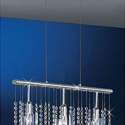 Linear 22-inch Bar Pendant 3-light Crystal Chandelier