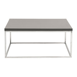 Teresa Square Coffee Table-Gry/Ss - Love your large living room, but don't know how to fill the space? Start with this refined, square coffee table. The clean cut design fills the space beautifully without distracting from your other furniture pieces.