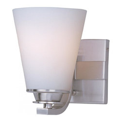 Joshua Marshal - One Light Satin Nickel Satin White Glass Bathroom Sconce - One Light Satin Nickel Satin White Glass Bathroom Sconce