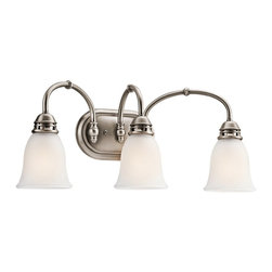 BUILDER - BUILDER Durham Transitional Bathroom / Vanity Light X-PA66054 - Traditional elements are accentuated by a stylish Antique Pewter finish on this Kichler Lighting bathroom light. From the Durham Collection, the look is completed with three satin etched glass shades.