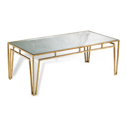 Kathy Kuo Home - Esme Contemporary Antique Gold Leaf Coffee Table - A hand wrought iron base with an antiqued gold leaf finish is inset with mirrored glass to form the perfect table.