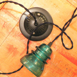 Glass insulators - Vintage upcycled aqua glass electric insulator pendant lamp.  Retro black twisted cord and black canopy.