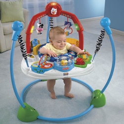 Fisher-Price - Laugh'n Learn Jumperoo - Features: -Delivers plenty of entertainment with fun lights and music, while introducing baby to soft experiential learning.-3 Sung songs that baby will enjoy, which help reinforce the experiential learning.-Offer safe jumping fun, and when baby gets bouncing he or she is rewarded with fun lights and music.-Activated mode offering 10 minutes of music while baby plays.-Farm-themed jumperoo is full of fun ways to reward baby's jumping as he laughs and learns with two ways to play.-In the musical fun mode, there are six different toy stations plus two overhead toys that let baby activate lights and five fun melodies.-Animal sounds are all introduced as baby's jumping activates lights and three sing-along songs.-Shape-sorting garden, and a farm flip book that does something different every time baby flips the page.-Plus a bobbling rooster that moves when baby does, a cow with rattle beads, pop-and-play piggies, a mirror pond, a peek-a-boo horsey and lots more.-Sturdy, free-standing steel frame lets baby jump safely-no doorway required.-Height adjusts as baby grows, and soft spring covers keep little fingers safe.-Use only for a child who is able to hold head up unassisted and who is not able to climb out or walk.-Comfortable rotating seat provides a safe place for baby to play and learn.-Baby activates music, sounds and lights, with playful friends to help stimulate visual and auditory skills.-Reaching and grasping onto toys fosters eye-hand coordination.-Peace of mind-safe jumping fun for baby.-No doorway required with this baby jumperoo.-Weight capacity: 25 lbs.-3 Position height adjustment included.-Introduces early experiential learning in gentle ways, with songs, sounds and graphics to help baby discover objects and farm friends, colors and shapes.-Collection: Laugh & Learn Jumperoo.-Product Type: Bouncer.-Distressed: No.-Non Toxic: Yes.-Lifestage: Baby.-Foldable: No.-Musical: Yes.-Power Swinging: No.-Battery Operated: No.-Lights: Yes.-Toys Included: Yes.-Snack Tray: No.-Lightweight: No.-Canopy: No.-Harness: No.-Adjustable Seat: No.-Padded Seat: No.-Adjustable Height: Yes.-Wheels: No.-Doorframe Assembled: No.-Outdoor Use: No.-Swatch Available: No.-Commercial Use: No.-Recycled Content: No.-Eco-Friendly: No.Dimensions: -Overall Height - Top to Bottom: 31.5.-Overall Width - Side to Side: 32.5.-Overall Depth - Front to Back: 32.5.-Overall Product Weight: 32.5.Assembly: -Assembly Required: Yes.-Additional Parts Required: No.