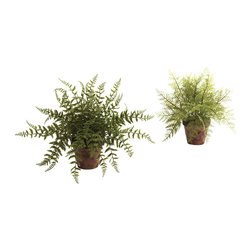 "Nearly Natural - Nearly Natural Fern with Decorative Planter (Set of 2) - The fern has long been a favorite, probably due to its ""wild and wooly"" look that is both fun and lush at the same time. This offering captures that exact look, and then doubles it - that's right, this is a set of two (faux) ferns, ready to stand at either side of an entryway, or tucked into two corners, or anywhere else you need some natural splendor. Perfect for both home and office, and makes a nice gift as well."