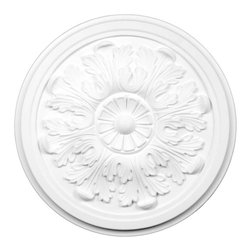 Renovators Supply - Ceiling Medallions White Urethane Ceiling Medallion 12 7/8 Dia - Ceiling Medallions: Made of virtually indestructible  high-density  urethane our medallions are cast from  steel molds  making them the highest quality on the market. Steel molds provide a higher quality result for  pattern consistency, design clarity & overall strength & durability.  Lightweight they are  easily installed  with no special skills. Unlike plaster or wood urethane is resistant to  cracking, warping or peeling.   Factory-primed  these medallions are ready for finishing. Measures 12 7/8 in. diameter.