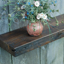 Reclaimed Chestnut Shelf Mantel - Reclaimed Chestnut ledge shelf mantel. Unmatched character, rich deep patina, awesome conversation piece. Four keyhole fasteners installed for easy, secure installation. Light coats of varnish. Ships to 48 states.