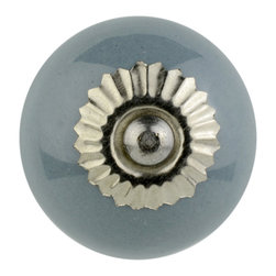 Knob Lovers - Ava Knob - Bring this sophisticated silver and grey duo into your home! Meet Ava, a classy round ceramic knob in a shining grey color set upon a silver mount and topped with a detailed silver cap.