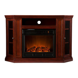 Holly & Martin - Holly & Martin Ponoma Convertible Media Electric Fireplace - For the entertainment enthusiasts, this cherry fireplace accommodates wonderfully. Triangular media storage shelves on either side of the firebox provide plenty of space for your favorite media selections and are enclosed by glass doors. An additional media equipment shelf rests above the firebox and is complete with convenient back wall cord access. This particular fireplace mantel is also designed with a collapsible panel, allowing for versatile placement against a flat wall or corner in your home. Requiring no electrician or contractor for installation allows instant remodeling without the usual mess or expense. In addition to your living room or bedroom, try moving this fireplace to your dining room for a romantic dinner or complement your media room with a ventless fireplace below your flat screen television. Use this functional fireplace to make your home a more welcoming environment.