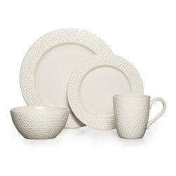 Gourmet Basics by Mikasa - Mikasa Gourmet Basics Hayes 16-piece Dinnerware Set - This striking stoneware features a beautiful hammered design on a clean white body for a look that is simple and sophisticated. Impress your guests with this lovely and classic dinnerware set at your next dinner party of get-together.