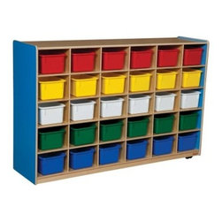 Wood Designs 30 Tray Colors Storage - Tommy can never find his notebook, and Susie wants to hide her ugly sweater. The Wood Designs 30 Tray Colors Storage unit is just the ticket to solve both problems and many more. In larger classrooms, it's more important than ever to give kids a personal space to call their own and help them stay organized. This amazing, herculean storage unit also can be used to categorize hands-on classroom activities. Also available without trays to store books and papers. Get organized today with Wood Designs.About Wood Designs Healthy Early Learning FurnitureWith more than half a decade of experience manufacturing for the school and early learning industries, Denny and Debbie Gosney began Wood Designs to create youth furniture that enriches the development of young children's lives. The company uses the finest quality materials, and every product is inspected before it arrives in the hands of its young customers. Wood Designs' highly skilled craftspeople use their experience to make premium, safe, quality furniture designed with kids in mind. In 2008, Wood Designs introduced a new line of furniture that offers the safest, strongest, most environmentally friendly products available for classroom use. Safety features include recessed backs and extra depth for stability, rounded edges, Tip-Me-Not doors that go all the way to the floor so it's more difficult for children to pull over the furniture, and Pinch-Me-Not continuous hinges that help prevent pinched fingers. All Wood Designs furniture receives a triple coat of Healthy Kids Tuff-Gloss™, the company's GREENGUARD certified UV finish - tough, durable, stain and chemical resistant and easy to clean. Furniture is constructed with a strong (and beautiful) mortise, glue and steel pin assembly method. Wood Designs assembly is many times stronger than furniture assembled with pencil-thin dowels, and all pieces include a lifetime warranty.