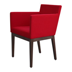 Harput Wood Armchair, Ercan Wool - Red