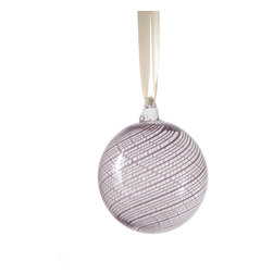 Working Man Hand Made - Purple Mezza-Filigrana Holiday Ornament In Ball Shape - All of our holiday ornaments are made using traditional Italian glass blowing techniques accentuated by bright and festive colors. Our line of transparent ornaments will brighten your holiday season!
