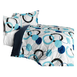 Blancho Bedding - Blue Bubble Quilted Patchwork Down-Alternative Comforter Set, King - The [Blue Bubble] Quilted Patchwork Down Alternative Comforter Set (King Size) includes a quilted down alternative comforter and two shams. This luxury comforter set is handmade and some quilting may be slightly curved. The luxury handmade comforter set makes a stunning and warm gift for you and a loved one! For convenience, all bedding components are machine washable on cold in the gentle cycle and can be dried on low heat and will last for years. Elaborate vermicelli quilting provides a rich surface texture. This vermicelli-quilted comforter set will refresh your bedroom decor instantly, create a cozy and inviting atmosphere and is sure to transform the look of your bedroom or guest room. Enjoy a good night's sleep in this luxurious comforter set. (Dimensions: King comforter: 105.1 inches x 94.8 inches; Standard sham: 24 inches x 33.8 inches)