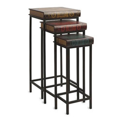 Hardcover Nesting Tables - Set of 3 - While everyone else is reading e-books, you'll be sitting pretty with this set of Hardcover Nesting Tables by your side. Scatter them around any space where extra surfaces are needed, and then nest them together when they're not: this is a rustic accent that's both functional and space-saving.
