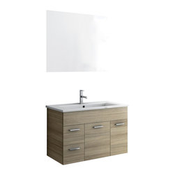 ACF - 33 Inch Bathroom Vanity Set - This Italian-made bathroom vanity set features a waterproof panel made of engineered wood in a beautiful larch canapa finish.