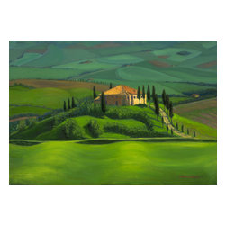 'Tuscan View' Framed Oil Painting - The rub of the green. The Tuscan countryside comes to life in saturated hues of green in this original oil painting by Lisa Bloomingdale Bell. Mounted in a gilded wood frame, it will make a wonderful addition to your art collection.