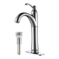 Kraus - Rivera Single Lever Vessel Mixer with Matching - Finish: Satin Nickel