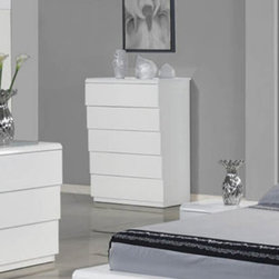 Whiteline - Nelly 5 Drawer Chest - High Gloss White - CD1096-WHT - Shop for Dressers from Hayneedle.com! Get plenty of space to store your clothes with the Nelly 5 Drawer Chest - High Gloss White. Delivering sleek modern style along with storage this chest has a high gloss white finish to easily coordinate with your decor.About Whiteline:With a product line that includes prime leather sofas comfortable beds and elegant dining room furniture Whiteline delivers modern and contemporary styles along with cozy comfort. Whiteline has 15 years of experience building furniture along with a worldwide network of skilled manufacturers to help them give you the best value for your money. And their huge collection of designs is sure to have something to suit your contemporary tastes.