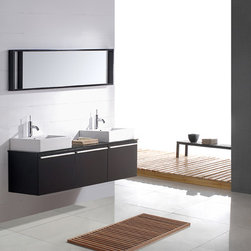 "Bel Canto Modern Double Sink Bathroom Vanity Set 59"" - The Bel Canto is a contemporary bathroom double sink vanity set that embraces the latest trend in luxury modern bathroom design."