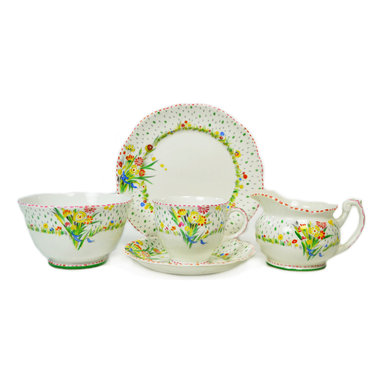 Lavish Shoestring - Consigned 6 Placements Foley China Tea/Coffee Set, Red/Green, Vintage English - This is a vintage one-of-a-kind item.