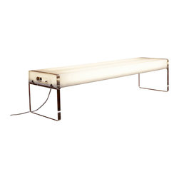 Pablo Designs - Light Acrylic Bench - This bench is made of white acrylic and has a clear acrylic legs. It is fully illuminated. This bench can also be used as a display unit or coffee table.