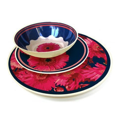 MOBOO® Dinnerware Set 12pc, Gerber Daisy - Set includes 4 dinner plates, 4 salad plates and 4 bowls. Gerber Daisy pattern. Stylish & Durable. Made of MOBOO® (molded bamboo). All natural alternative to plastic. Does not contain any harmful chemicals.